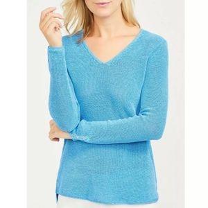 J. McLaughlin Light Blue Shimmer Knit Top L